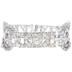 Art Deco Diamond Platinum Bracelet | From a unique collection of vintage more bracelets at https://www.1stdibs.com/jewelry/bracelets/more-bracelets/