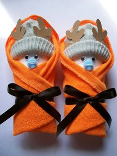 Deer hunter orange brown little swaddlers unique baby shower gift favor dirty diaper game table settings on Etsy, $6.00