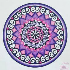 Pink and Purple Chakra Sahasrara Mandala Art Print Mandala Drawing, Mandala Art, Bright Art, Pretty Hands, Pink Abstract, Coloured Pencils, Zen Art, Dutch Artists, Mandala Coloring