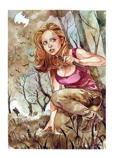 Buffy - The Vampire Slayer. Art by Andrea Jen Joss Whedon, Buffy Summers, Nerd Art, Illustrations, Buffy The Vampire Slayer, Our Lady, Comic Art, Comic Books, Art Drawings
