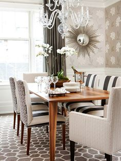 sarah richardson renovation style toronto home renovation dining room love the creative upholstery Interior Walls, Interior Design, Stylish Interior, Geometric Decor, Dining Room Chairs, Dining Rooms, Decoration, Sweet Home, Room Decor