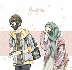 kumpulan kartun romantis parf 3 - my ely Cute Muslim Couples, Muslim Girls, Cute Anime Couples, Love Cartoon Couple, Cute Couple Art, Hijab Drawing, Islamic Cartoon, Anime Couples Drawings, Hijab Cartoon