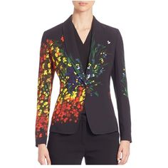 Escada Hand-Painted Long Sleeve Jacket ($479) ❤ liked on Polyvore featuring outerwear, jackets, blazers, fantasy, flower jacket, escada, escada jacket, long sleeve blazer and blazer jacket