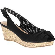 Faded Glory Women's Bee Peeptoe Wedge Slingback Sandals