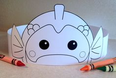 Goldfish Paper Crown COLOR YOUR OWN Printable