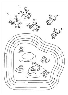 Jeu du labyrinthe à imprimer Frogs Preschool, Preschool Worksheets, Preschool Activities, Nursery Rhyme Crafts, Nursery Rhyme Theme, 4 Year Old Activities, Color Activities, Frog Coloring Pages, Mazes For Kids