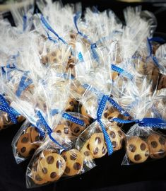 Cookie monster party favours- mini choc chip cookies