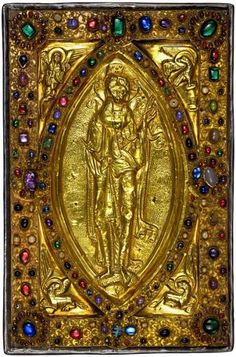Christ In Majesty With The Four Living Creatures, gold and jeweled binding from Flanders, third quarter of the eleventh century, for Judith, countess of Flanders. On a Gospel Book, in Latin, c. 1051-64 (England). MS M.709, The Morgan Library, New York.