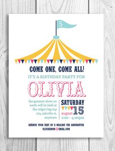 Circus Printable Party Invitation  Big Top by PicadillyLime, $13.00