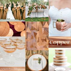 If you are thinking about using a neutral metallic such as gold or silver, why not go with Copper instead! Copper is perfect for a fall wedding, since it looks particularly beautiful with colors of the fall season. You can pair it with greenery and also can add in a darker bronze.