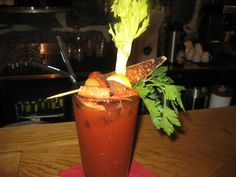 Scary Mary....Traditional Bloody mary, with smoked shrimp, chaurice, and marinated olives.  Great for brunch.
