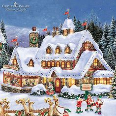 thomas kinkade handcrafted north pole village collection - Santa North Pole