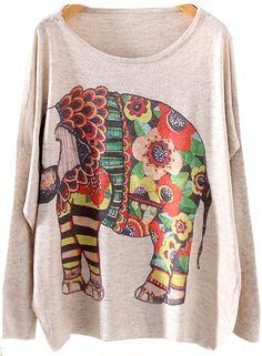 Shop Beige Long Sleeve Elephants Print Knit Sweater online. Sheinside offers Beige Long Sleeve Elephants Print Knit Sweater & more to fit your fashionable needs. Free Shipping Worldwide!