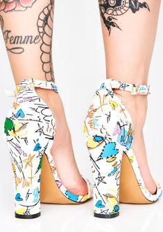 0b59aeb8db6b Doodle Print Ankle Strap Heels