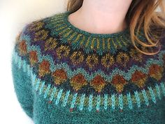 Beautiful colours on this yoke jumper: Lovewool-Knits' Gemini Pullover Lagoon Heather (MC) Icelandic Sweaters, Fair Isle Pattern, Fair Isle Knitting, Sweater Making, Fair Isles, Pulls, Knitting Projects, Knitwear, Knit Crochet
