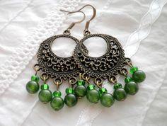 Green Jade Bronze Earrings from juta ehted - my jewelry shop by DaWanda.com