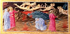 Punishment of the Lustful; Paolo and Francesca by Priamo della Quercia (manuscript illumination, Illustration of Dante's Inferno )