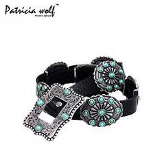Patricia Wolf Black Leather Turquoise Concho Belt available at www.BrazenHeart,com * Follow us on Instagram @brazen_heart * Like us on Facebook at Brazen HEART Clothing.