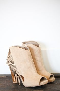 hailey bootie with genuine leather fringe in taupe - #maurices ...