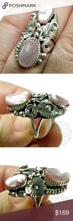 """Vintage Navajo Sterling Pink Mother of Pearl Absolutely beautiful Vintage Navajo Sterling Silver & Pink Abalone Ring  ▪ Designed in traditional leaves, flowers, balls, rope design and Scalloped edging  ▪ Circa 1960's  ▪ Size: 6.5 ▪ Measures: 1 1/4"""" inches long  5/8"""" inches wide  Handcrafted by Native American Artisans  ⚠ All measurements are approximate   Perfect PRE-LOVED condition with  New Box   ✋ All Sales Final    Trades or Holds Vintage Jewelry Rings"""