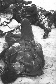 The necropolis of Stalingrad: German dead after the end of the battle. Perhaps the largest battle of all.  I read somewhere that the average lifespan of a Soviet soldier in Stalingrad was 6 minutes.