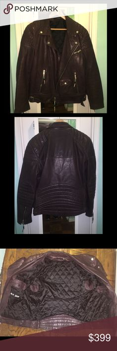 BLK DNM!! Maroon leather motorcycle jacket Quilted Maroon leather motorcycle jacket with beaded zipper pulls, extra pockets and quilted lining. Mint condition!! Men's XL, meant to be worn tight and hip length. BLK DNM Jackets & Coats Performance Jackets