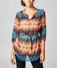 Loving this Brown & Aqua Tribal Belted Button-Front Top - Women on #zulily! #zulilyfinds