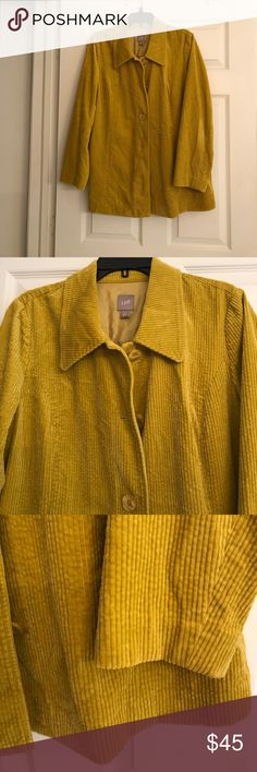 J. JILL MUSTARD CORDUROY LONG JACKET Perfect for Fall/Winter.. Thick 100% Cotton ribbed corduroy in a gorgeous mustard.. great-looking buttons.. side pockets! And nice pleated details across the back. In excellent condition. No flaws. J. Jill Jackets & Coats