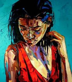 """The Ocean"" - Anna Bocek, oil on canvas, 2014 {figurative #expressionist art female décolletage woman portrait grunge cropped painting} www.annabocek.com"