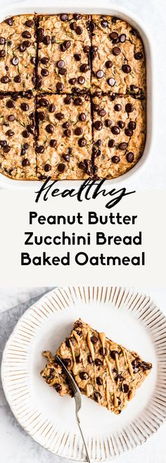 Delicious peanut butter zucchini bread baked oatmeal that tastes like a peanut butter oatmeal cookie! This easy, dairy free zucchini baked oatmeal is packed with protein, freezer-friendly and perfect for making ahead for breakfasts during the week. Serve warm with a dollop of peanut butter on top. #oatmeal #bakedoatmeal #healthybreakfast #brunchrecipe #peanutbutter #zucchinibread Healthy Sweets, Healthy Breakfast Recipes, Brunch Recipes, Gourmet Recipes, Breakfast Ideas, Breakfast Time, Vegan Breakfast, Cocktail Recipes, Easy Dinner Recipes