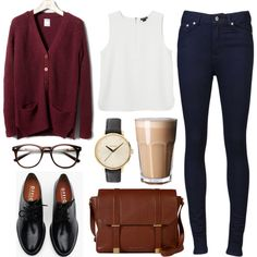 Over sized sweater, simple tank, high waisted black skinnies, oxfords, glasses, natural messenger bag