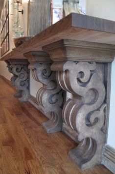 Relics, Sculpture, Motifs for the Home: Cantilevered shelf & corbels – how great is this! This would be awesome in the k… - Diy Furniture Teens Ideen Into The Woods, Painted Furniture, Diy Furniture, Furniture Dolly, Coaster Furniture, Veranda Interiors, Cantilever Shelf, Tuscan Decorating, Old World Decorating