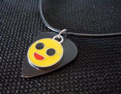Happy Face Emoji Charm on a Black Guitar Pick and Rolled Black Leather Cord by ItsYourPick on Etsy