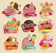 Product Label Design Templates Free Awesome Food Label Sticker with regard to Product Label Design Templates Free - Professional Templates Ideas Cake Logo Design, Food Logo Design, Bakery Design, Logo Food, Tarta Queso Oreo, Ice Cream Logo, Sweet Logo, Candy Logo, Best Sweets