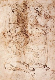 1507 Raphaël Studies For The Entombibliothèque Municipaleent A Group Of Figures In A Lamentation Pen And Brown Ink 9 Cm Londres British Museum Miguel Angel, Prado, Figure Drawing, Painting & Drawing, Drawing Sketches, Art Drawings, Drawing Tips, Google Art Project, Pen And Wash