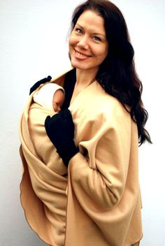 Maternity Coat Fleece Poncho Jacket Babywearing Wrapping Poncho - Caramel - several colors in shop - Made to Order