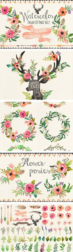 Stunning watercolor floral graphics // signs and stationary Frases Good Vibes, Watercolor Flowers, Watercolor Paintings, Watercolors, Drawn Art, Illustration Art, Illustrations, Motif Floral, Floral Design