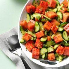 Minty Watermelon-Cucumber Salad Recipe http://www.tasteofhome.com/recipes/minty-watermelon-cucumber-salad