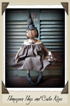 Primitive Halloween Witch Doll by Homespun Hugs and Calico Kisses ❤︎ #homespunhugsandcalicokisses