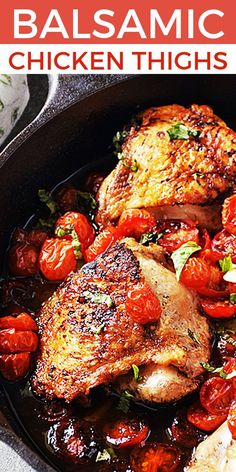 Easy Balsamic Chicken Thighs with Tomatoes is an easy, LOW CARB recipe that cooks all in one skillet and is loaded with fresh ingredients to maximize flavor. Chicken Thighs are very easy to cook, perfect for the KETO diet, budget-friendly, and a super versatile ingredient. Chicken thighs are my GO-TO easy dinner recipe any night of the week. Check out all of my chicken thigh recipes and learn how to cook easy dinners using chicken thighs. #LTGrecipes #ChickenThighs #EasyDinner #Chickenrecipe Balsamic Chicken Thighs, Chicken Thighs Dinner, Chicken Thighs And Tomatoes Recipe, Chicken Thigh Tomato Recipe, Low Carb Chicken Thigh Recipe, Recipes With Chicken Thighs, Healthy Chicken Thigh Recipes, Skillet Chicken Thighs, Keto Chicken Thighs
