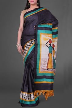 Black Panihari Hand Brush Painted Pashmina Tussar Silk Saree