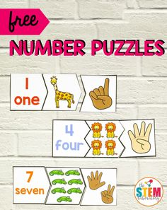Whether you're planning a zoo unit or need a fun way to work on recognizing and counting 1 to these playful number puzzles are sure to do the trick. These adorable animal puzzles make a perfect math center in preschool or kindergarten! Preschool Lessons, Preschool Classroom, Preschool Learning, Kindergarten Activities, Teaching Math, Maths, Math Activities For Preschoolers, Preschool Zoo Theme, Preschool Readiness