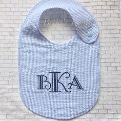 Monogrammed baby bib personalized baby gift baby boy baby girl embroidered seersucker bib baby bibpersonalized bibbaby negle Image collections