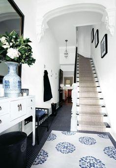 blue & white, black accents, black penny tile