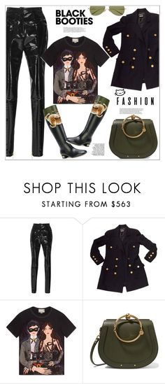 """""""Black Booties: Winter Basics"""" by vittorio-1 ❤ liked on Polyvore featuring Balmain, Chanel, Gucci and Chloé"""