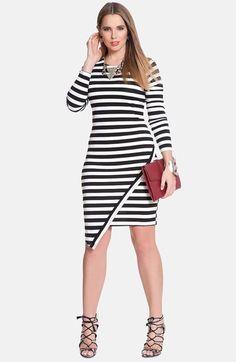 ELOQUII Stripe Asymmetrical Dress (Plus Size) | Nordstrom