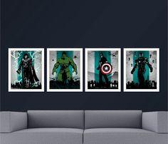 Vintage Movie Art Prints. Avengers Iron Man Thor by SparkleBarley