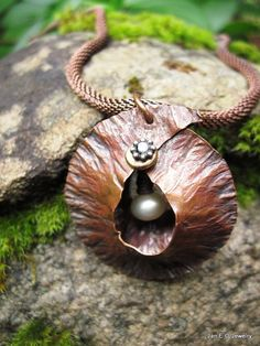 Etsy - JanEOjewelry  - Tribal Fold Form Cocoon Pendant with Fresh Water by JanEOjewelry, $63.00