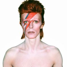 David Bowie photographed for the Aladdin Sane album cover, 1973, with the iconic lightning bolt across his face. (Photograph: Brian Duffy via Stylist Magazine)