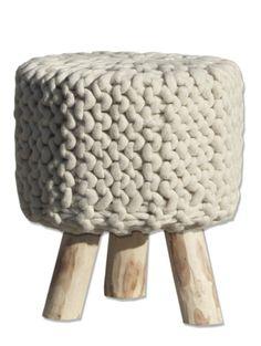BY-BOO - Kruk Wool Wood Wit - Klein
